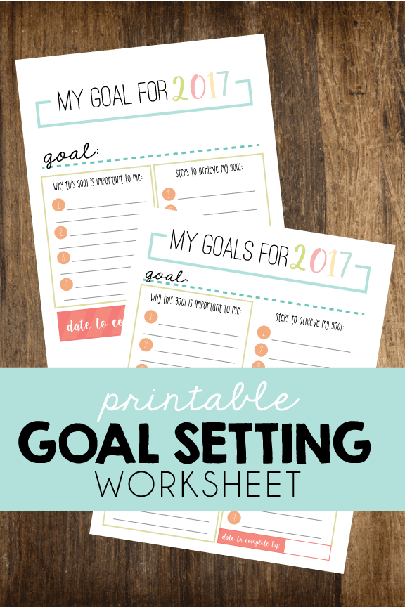 Printable Goal Setting Worksheet via Short Stop Designs