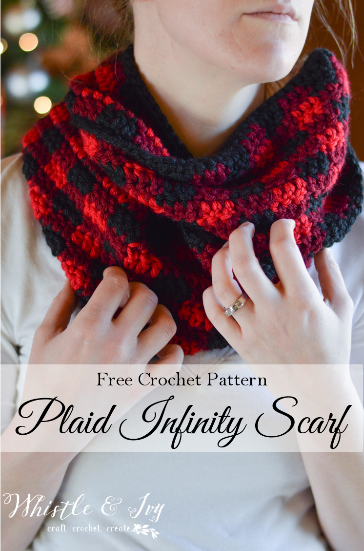 Plaid Infinity Scarf Crochet Pattern via Whistle & Ivy