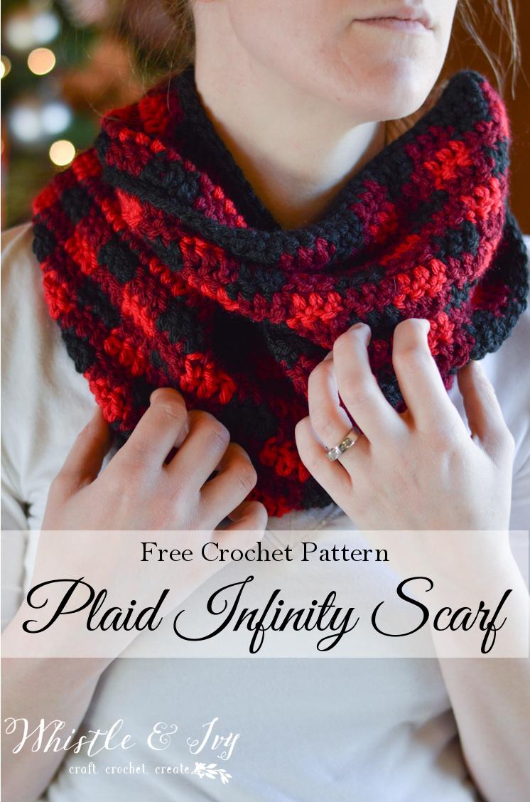 Plaid Infinity Scarf Crochet Pattern via Whistle & Ivy