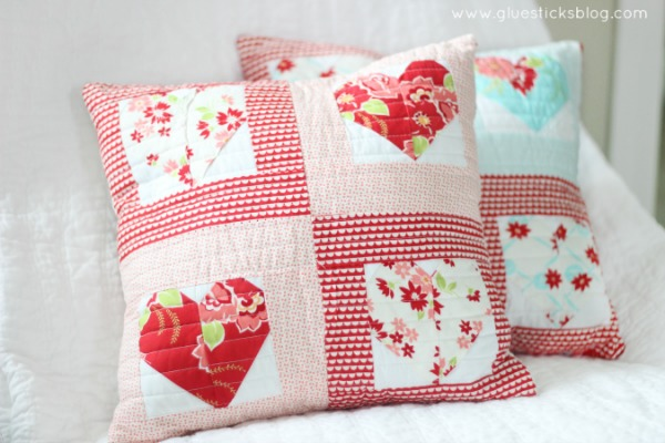 Quilted Sweetheart Pillow via Glue Sticks Blog