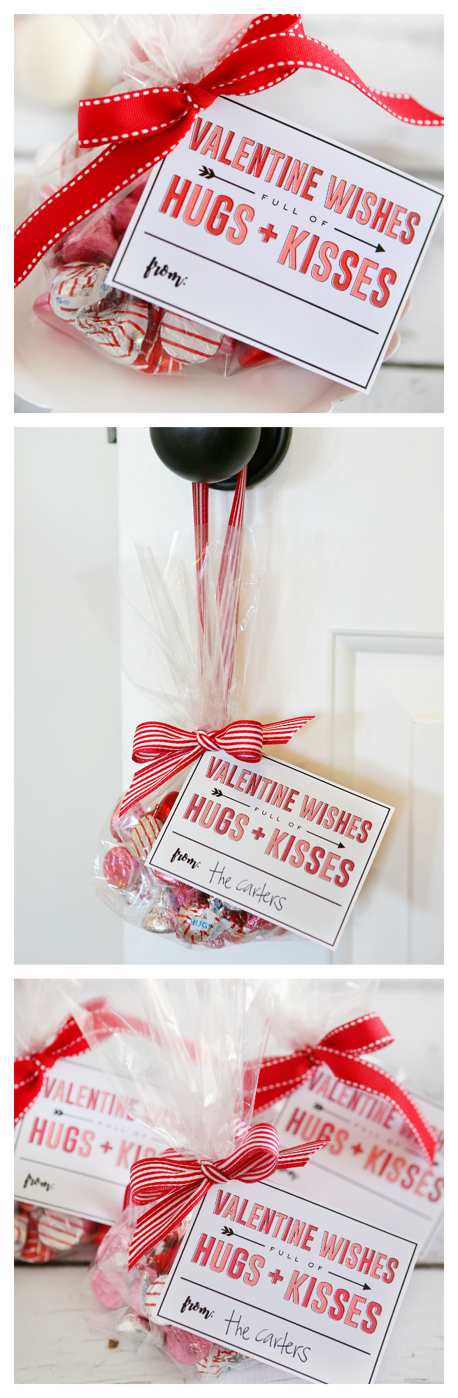 Valentine Wishes Full of Hugs and Kisses | Valentine Gift Idea with free printable gift tag