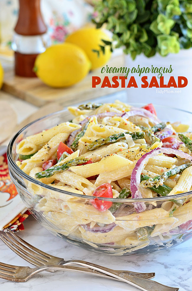 Creamy Asparagus Pasta Salad from Tidy Mom