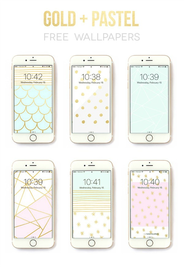 Pastel + Gold Free Wallpapers via Lines Across