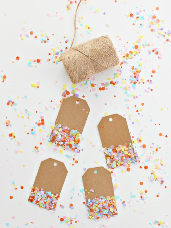 Colorful Confetti Gift Tags via White House Crafts