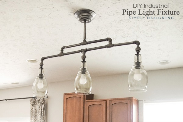 DIY Industrial Pipe Light Fixture via Simply Designing
