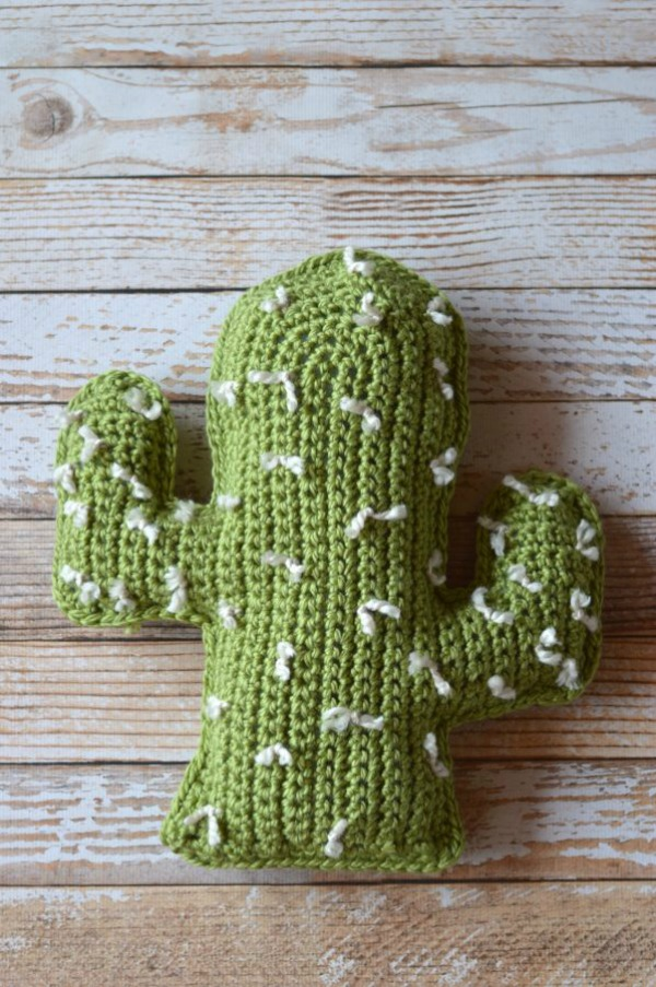 Cactus Pillow Crochet Pattern via Whistle & Ivy