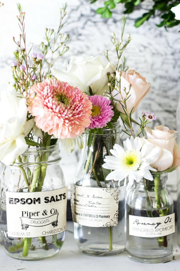 Free Printable Spring Apothecary Jar Labels via Bless'er House