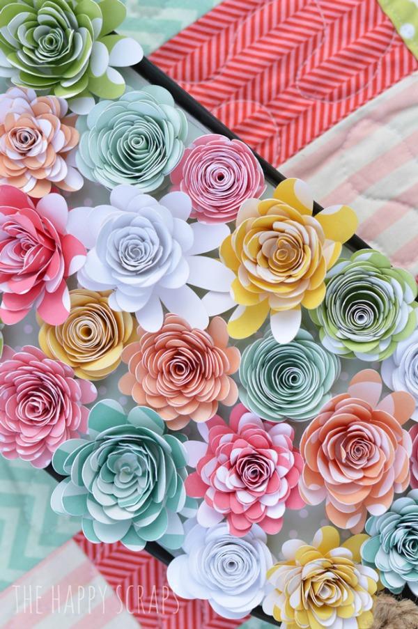 Paper Flower Spring Centerpiece via The Happy Scraps