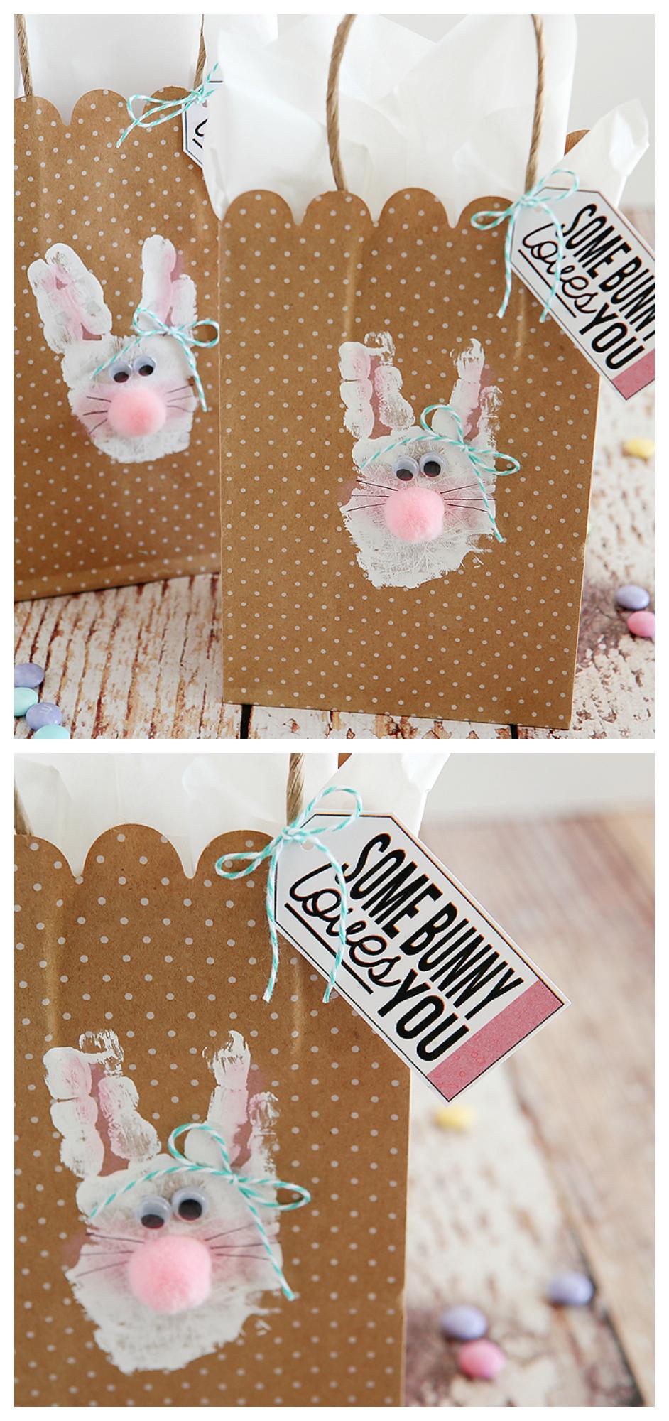 Handprint Bunny Bags | Easter Kids Crafts
