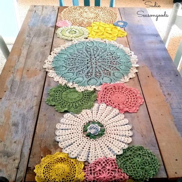 Pastel Dyed Vintage Doily Table Runner for Spring via Sadie Seasonsgoods