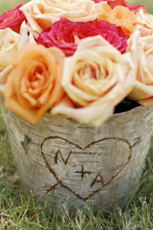 Rustic Carved Initial Centerpiece via Tikkido