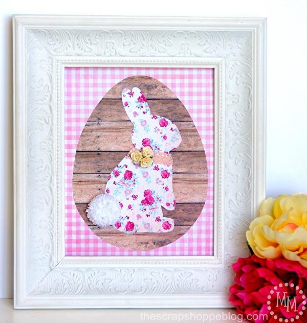 Framed Paper Bunny via The Scrap Shoppe Blog