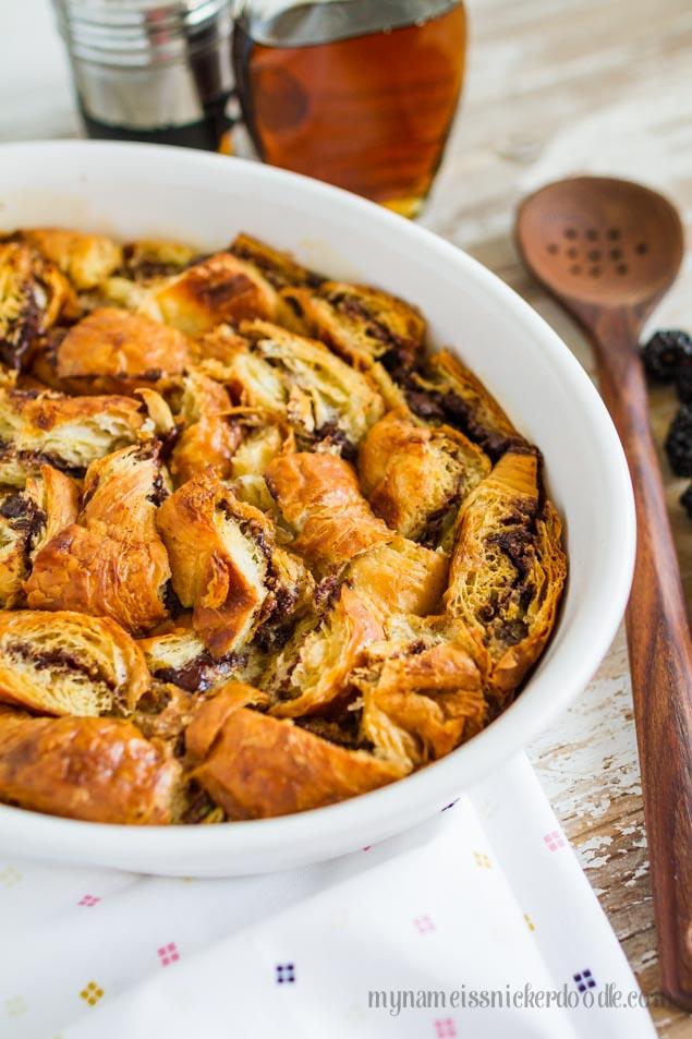 Nutella Stuffed Croissant French Toast Casserole | Breakfast Casserole Recipes