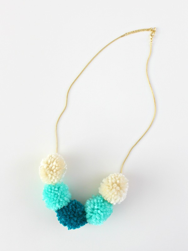 DIY Pom Pom Necklace via White House Crafts