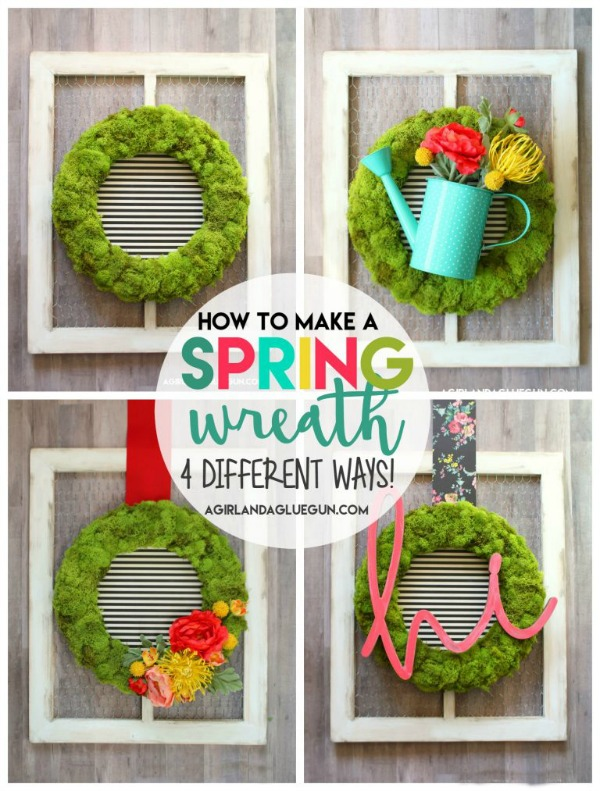 How to Make a Spring Wreath 4 Different Ways via A Girl and a Glue Gun