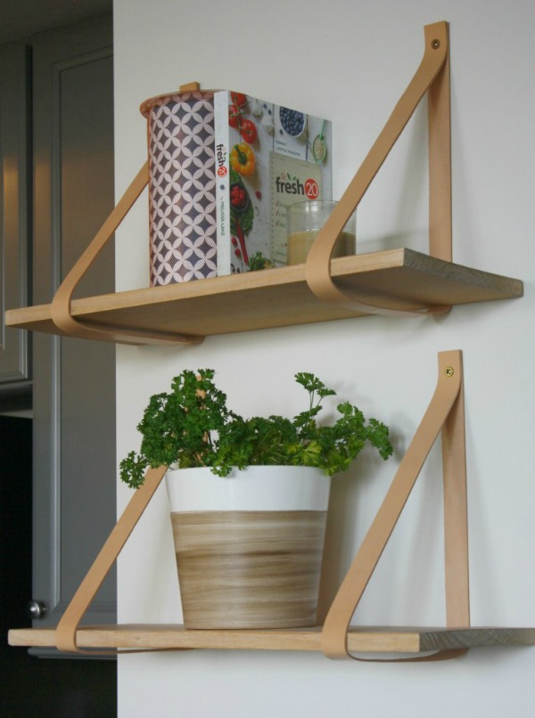 DIY Leather Strap Shelves via My French Twist