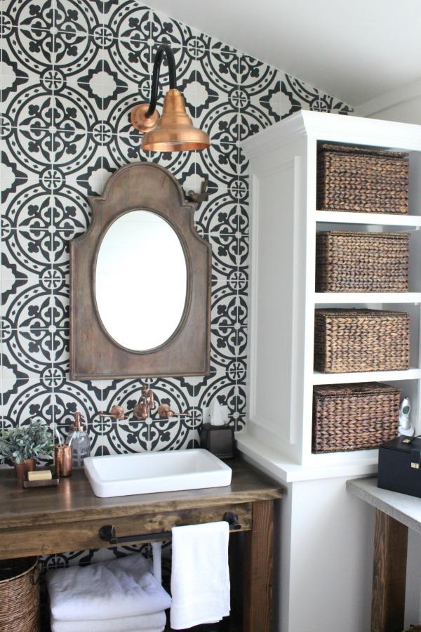Modern Farmhouse Bathroom Renovation Reveal via My Life From Home