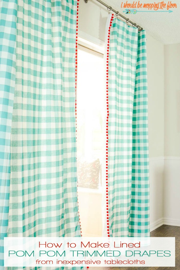 How to Make Lined Pom Pom Trimmed Drapes via I Should Be Mopping the Floor