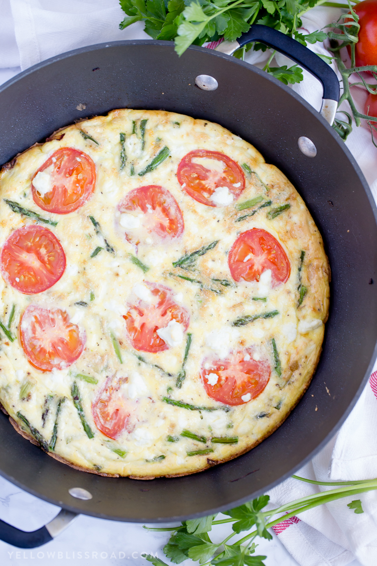 Asparagus, Tomato and Goat Cheese Frittata from Yellow Bliss Road