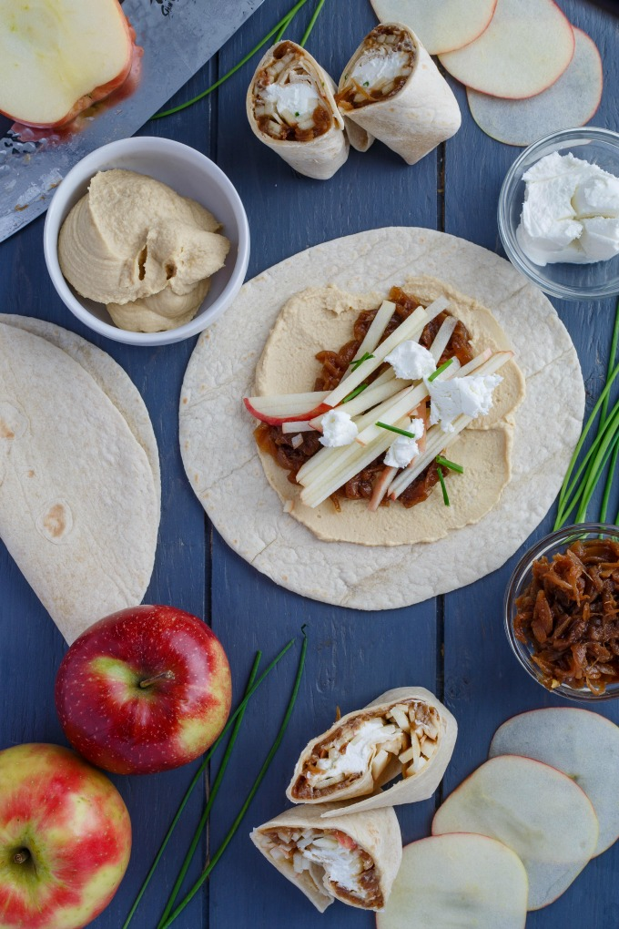 Caramelized Onion Apple Wraps with Hummus from The Cookie Writer