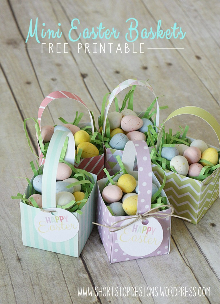 Mini Easter Baskets with free printables