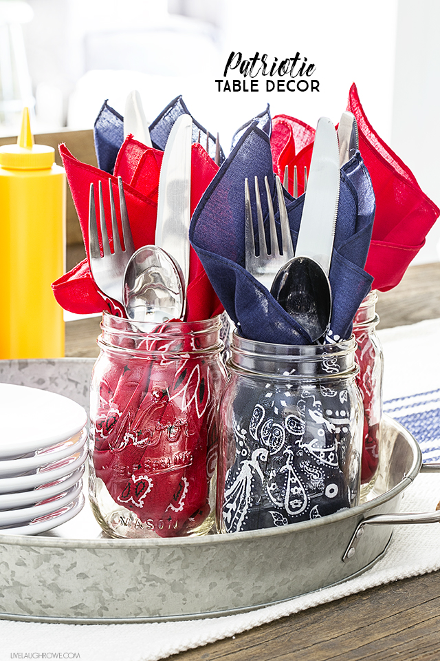 PATRIOTIC TABLE DECOR USING BANDANAS from Live Laugh Rowe