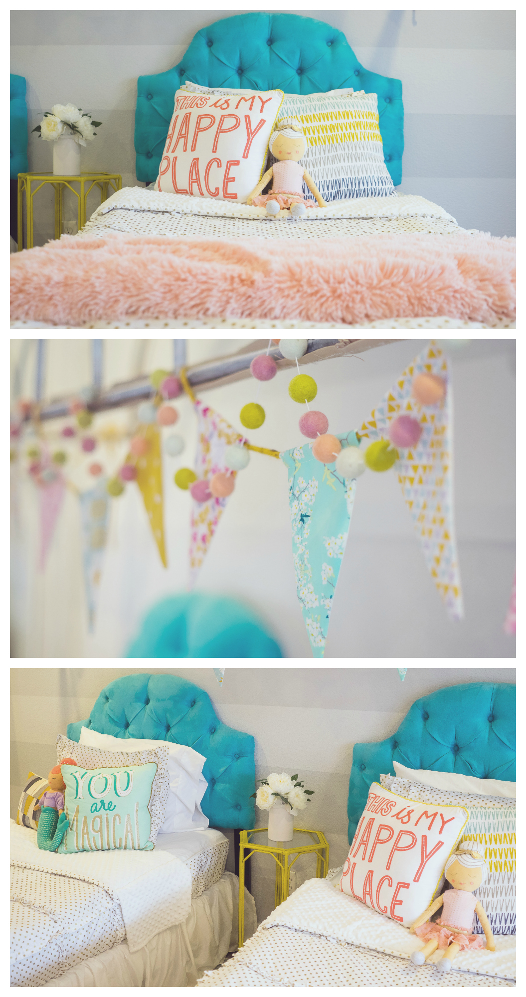 Little Girls Bedroom Ideas | Fun room makeover using Beddy's zipper bedding!