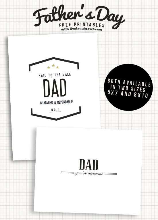 Classic Father's Day Printable Cards from Live Laugh Rowe