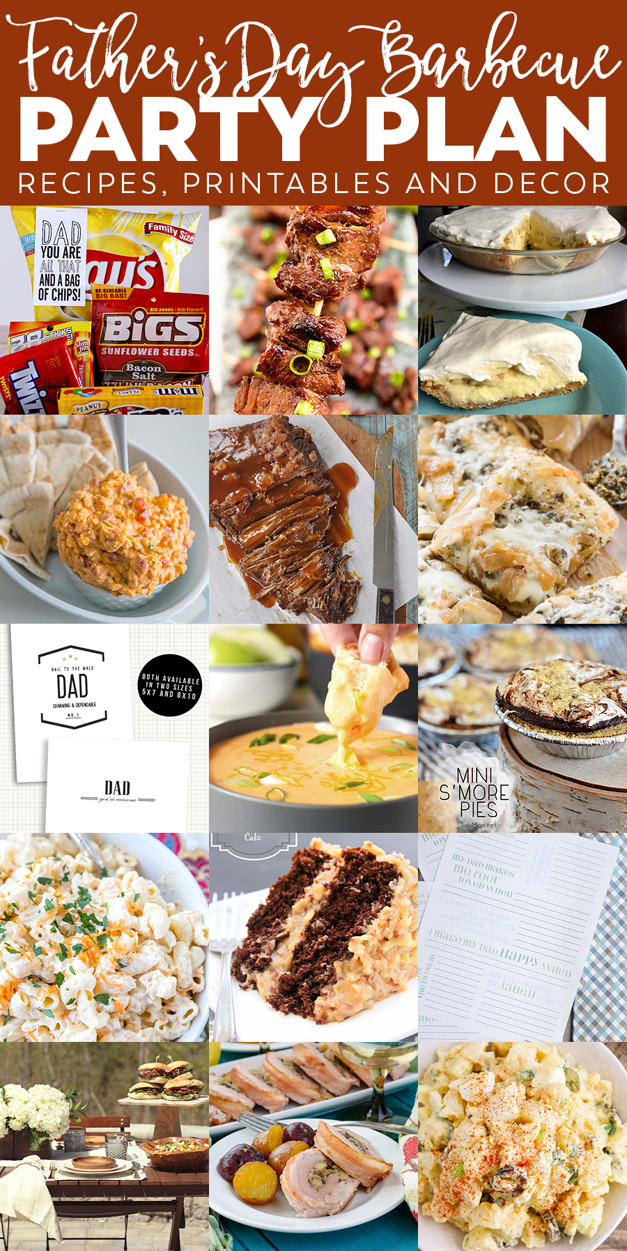 Father's Day Barbecue Party Plan - Lots of recipe ideas, printables and party decor!