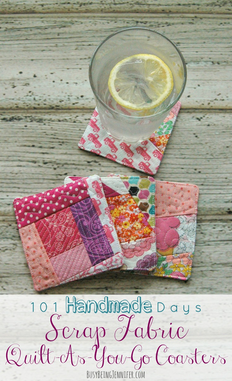Scrappy Quilt As You Go Coasters via Busy Being Jennifer