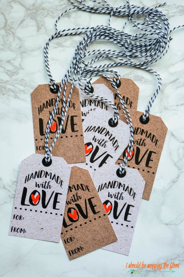 Free Printable Handmade with Love Gift Tags via I Should Be Mopping the Floor