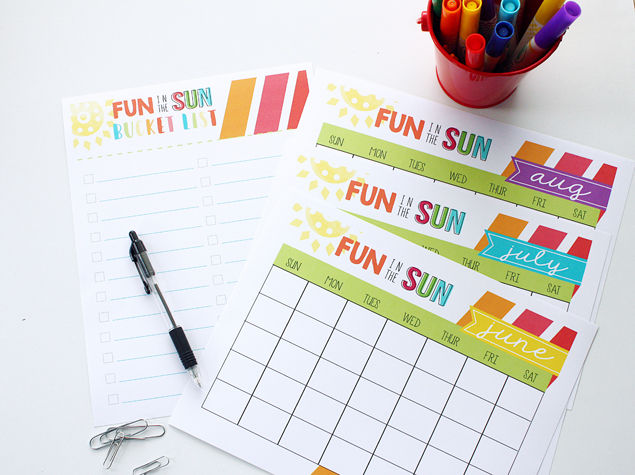 Printable Summer Bucket List + Summer Calendar
