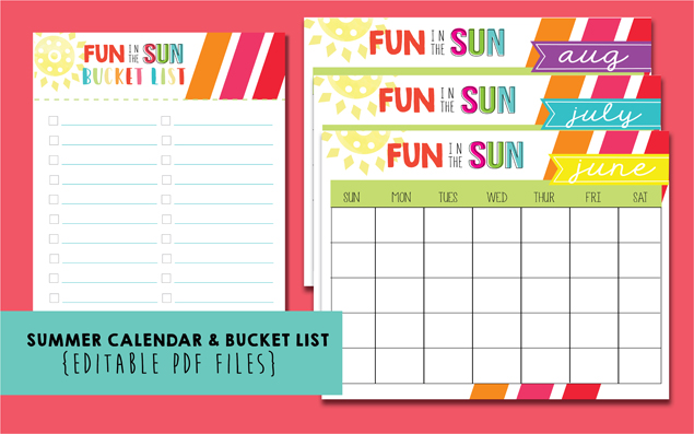 picture regarding Bucket List Printable identified as Printable Summer time Bucket Listing + Summer months Calendar - 1825