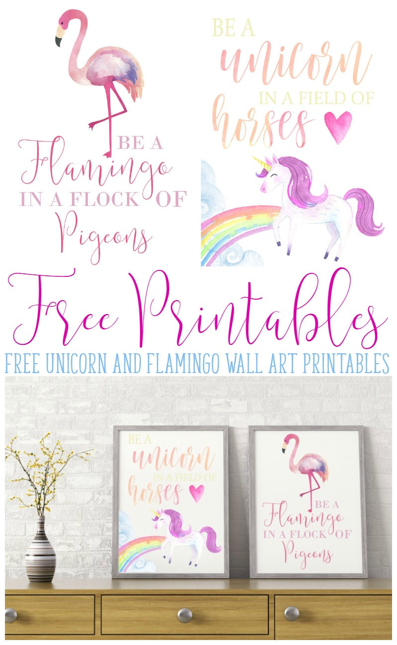 Be a Unicorn and Flamingo Free Printables via Busy Being Jennifer