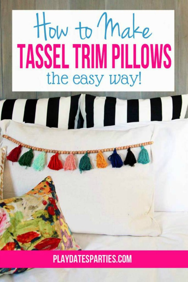 How to Make Tassel Trim Pillows via Play Dates to Parties