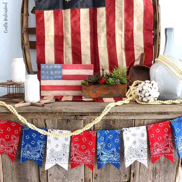 DIY Patriotic Bandana Banner via Crafts Unleashed