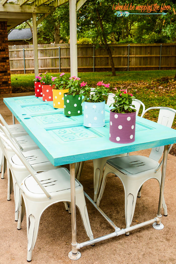 Old Door Patio Table via I should be mopping the floor