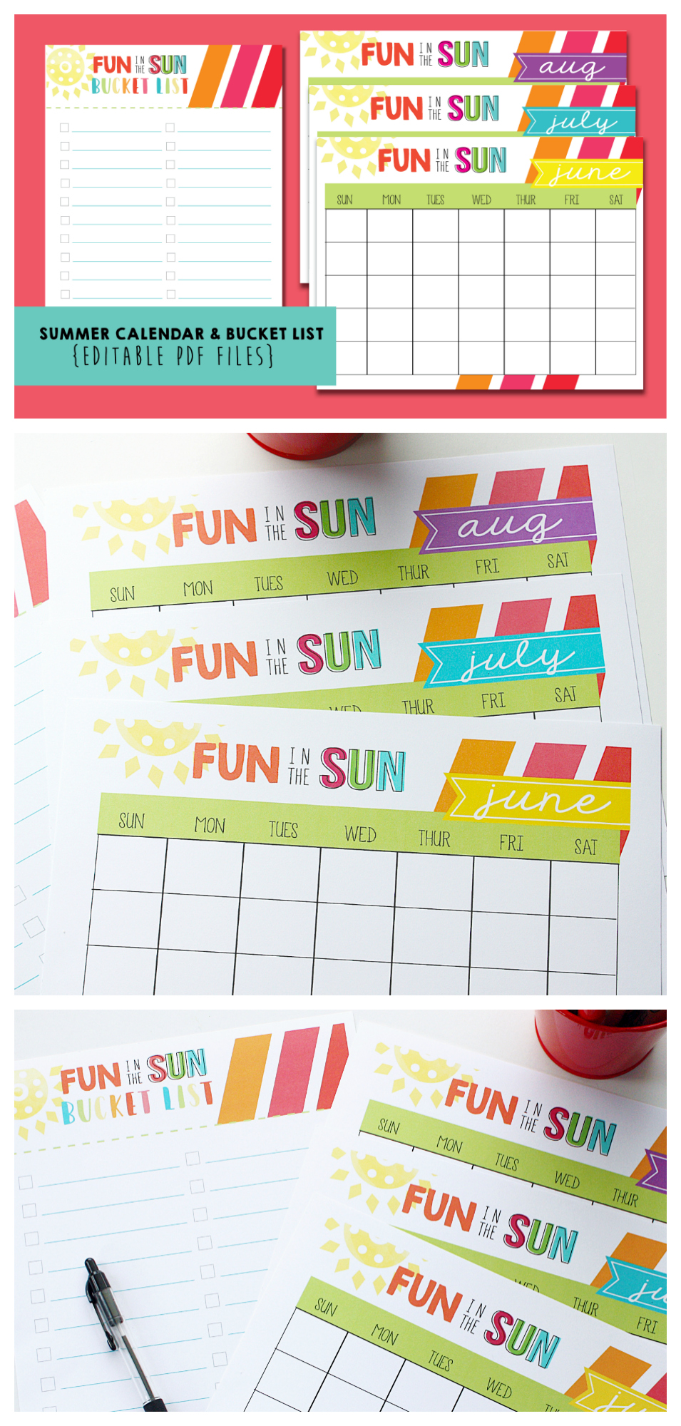 Free Printable Summer Bucket List and Summer Calendar