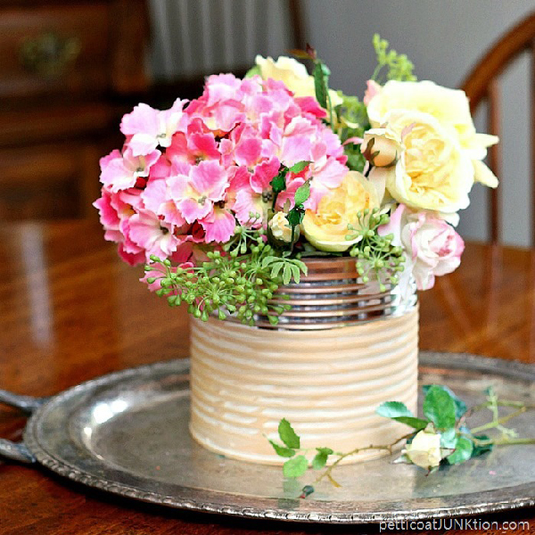 Coffee Can Turned Flower Vase via Petticoat JUNKtion