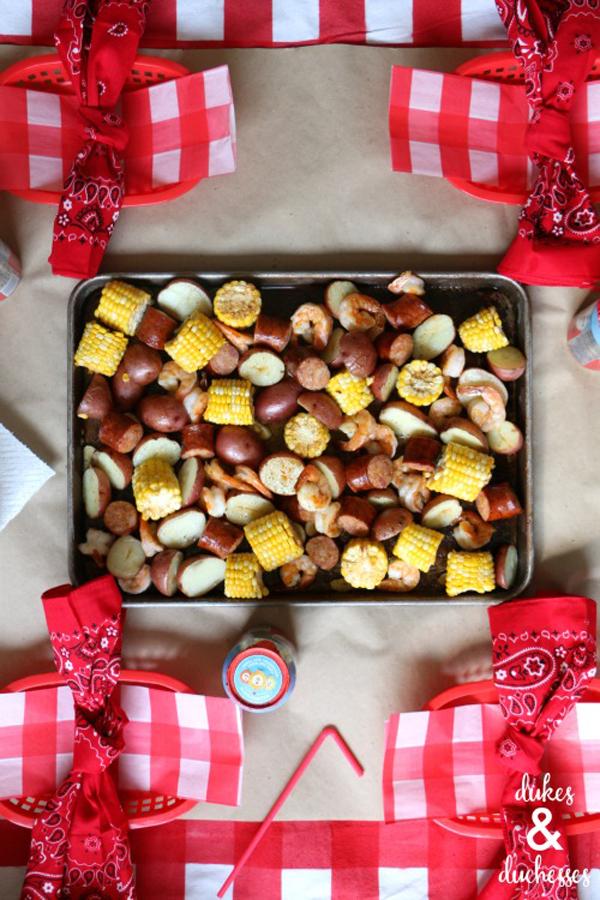 Sheet Pan Shrimp Boil via Dukes & Duchesses | Show and Tell Link Party