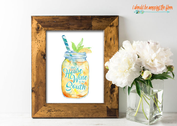 Sweet Tea Free Printable via I Should Be Mopping The Floor
