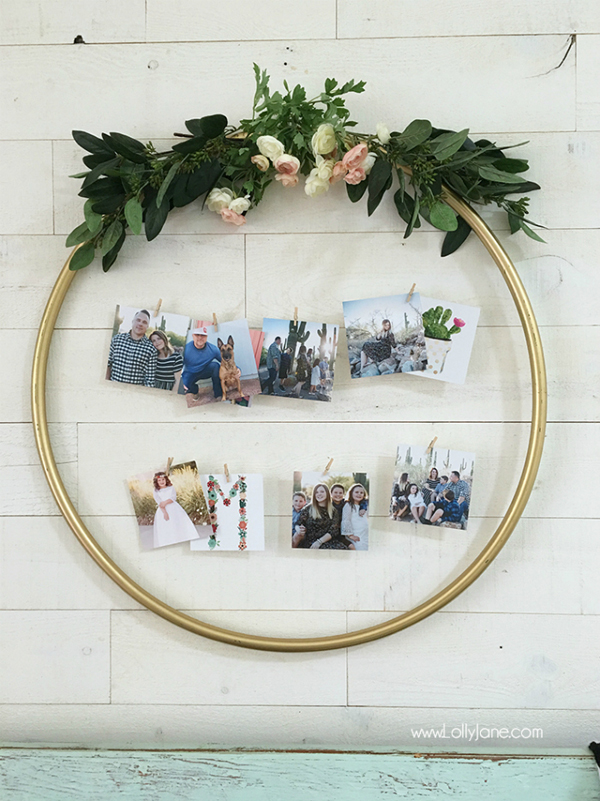 DIY Hula Hoop Photo Display | Show and Tell Link Party