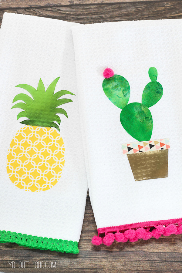 DIY No Sew Summer Kitchen Towels via Lydi Out Loud | Show and Tell Link Party
