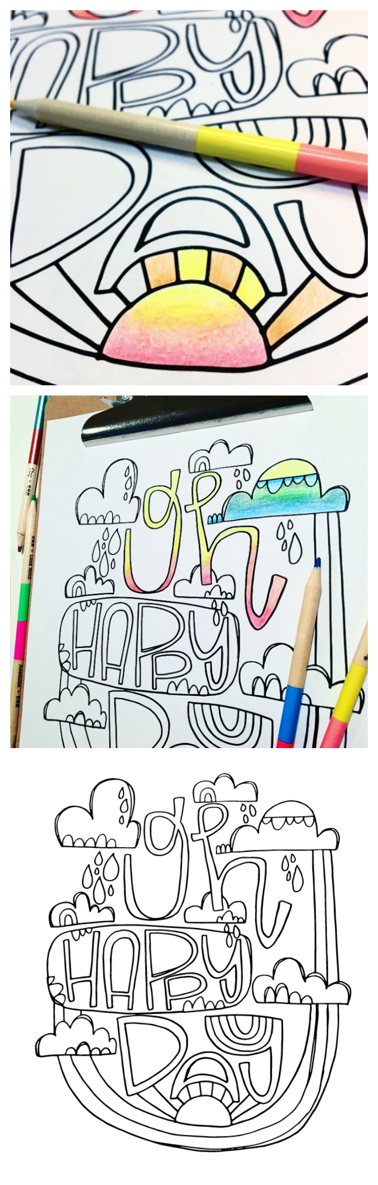 Oh Happy Day Free Printable Coloring Page