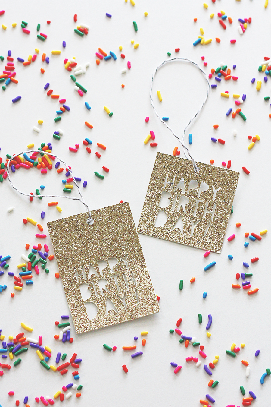 Happy Birthday Glitter Gift Tags | Cricut Cut Files