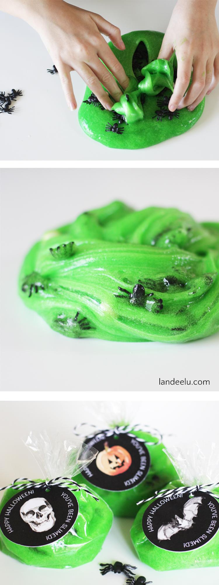 Halloween Slime for Kids! Includes free printable gift tags!