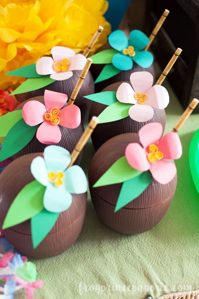 Show and Tell Party | Luau Coconut Cups via Frog Prince Paperie