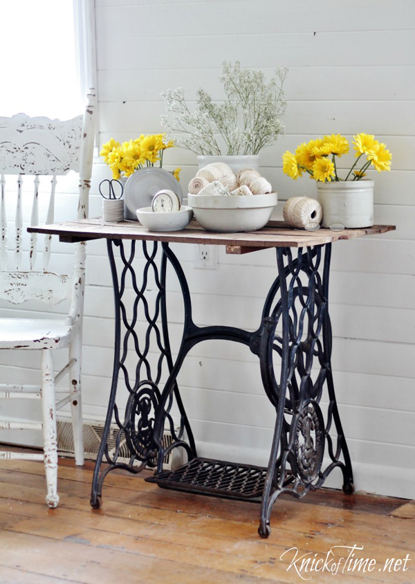 Show and Tell Party | Antique Sewing Machine Table via Knick of Time