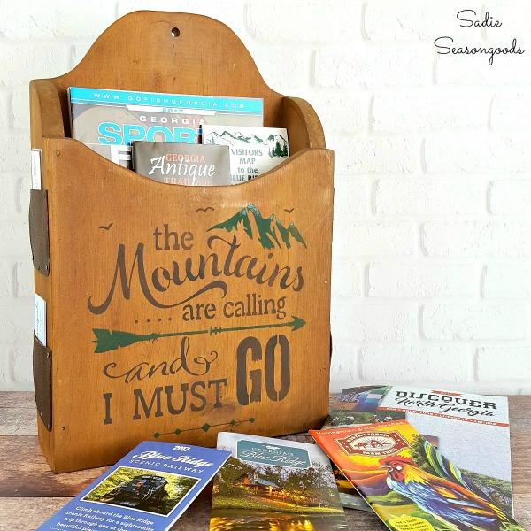 DIY Vintage Mountain Cabin Brochure Holder via Sadie Seasongoods