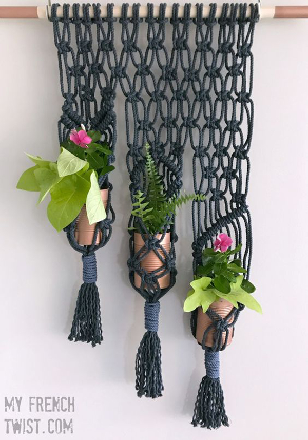 Macrame 3-Pot Planter via My French Twist